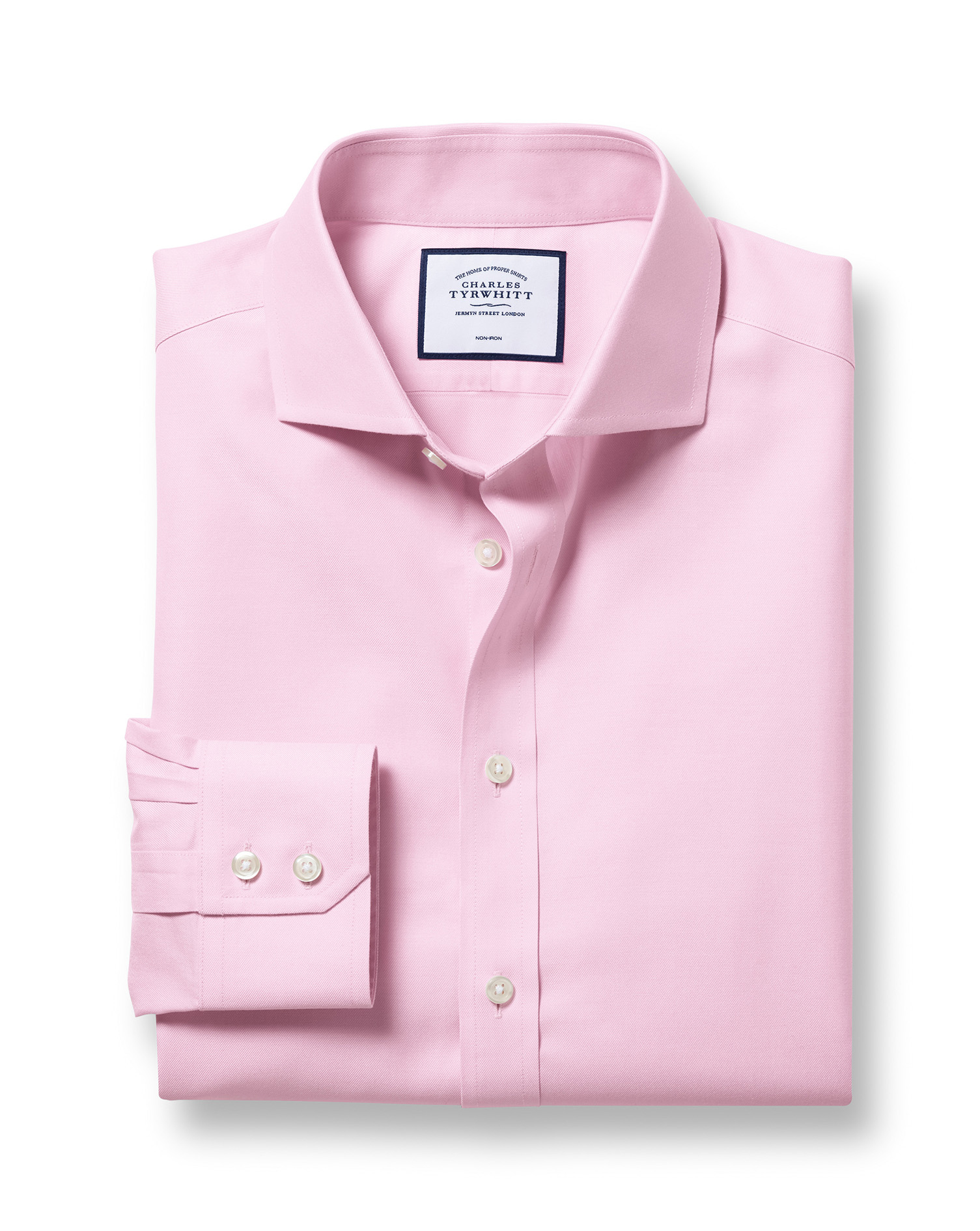 Extra Slim Fit Cutaway Non-Iron Twill Pink Cotton Formal Shirt Single Cuff Size 15/33 by Charles Tyrwhitt from Charles Tyrwhitt