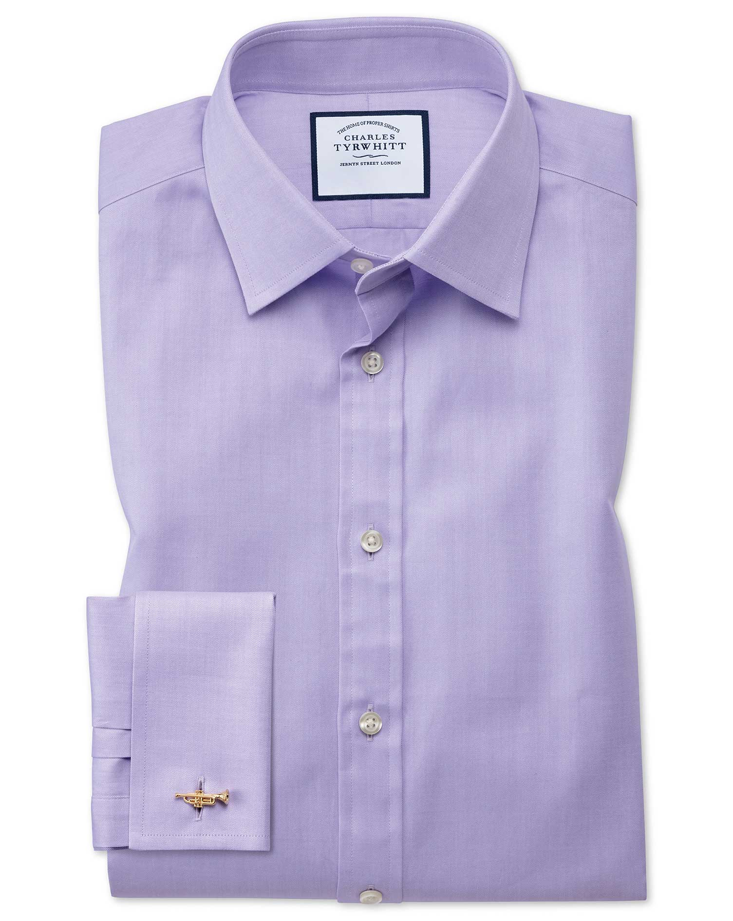 Extra Slim Fit Fine Herringbone Lilac Cotton Formal Shirt Double Cuff Size 15/35 by Charles Tyrwhitt from Charles Tyrwhitt