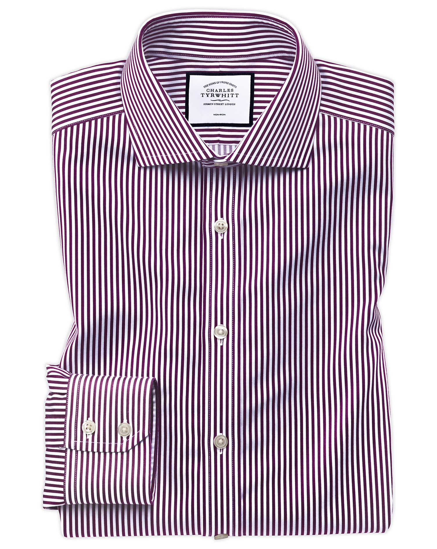 Extra Slim Fit Non-Iron Cutaway Collar Berry Twill Stripe Cotton Formal Shirt Single Cuff Size 16/36 by Charles Tyrwhitt from Charles Tyrwhitt