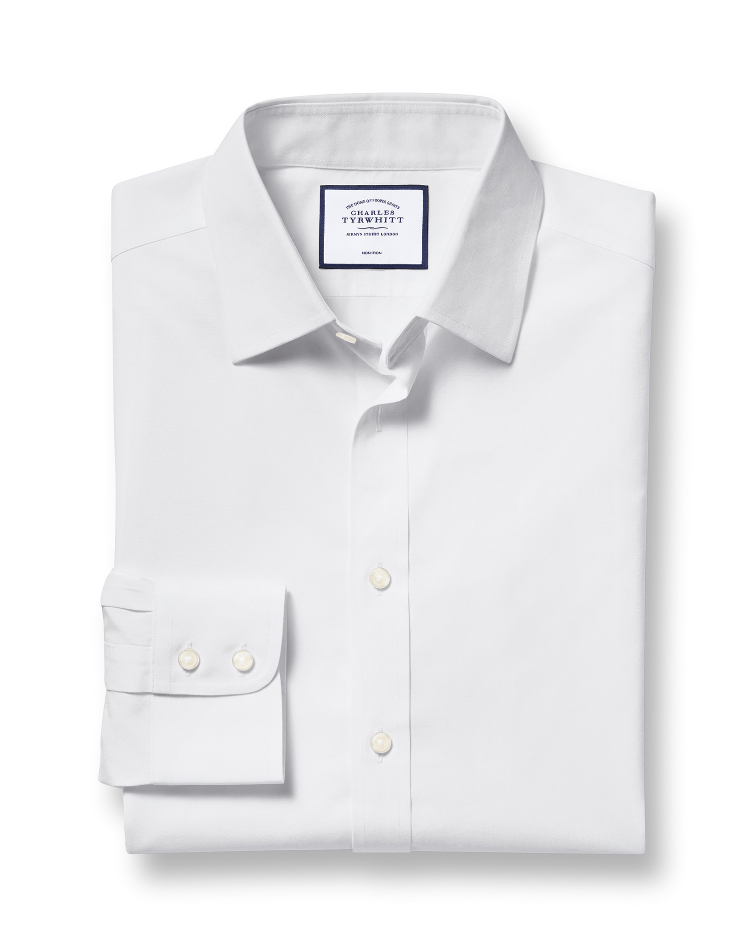 Extra Slim Fit Non-Iron Poplin White Cotton Formal Shirt Single Cuff Size 15/35 by Charles Tyrwhitt from Charles Tyrwhitt