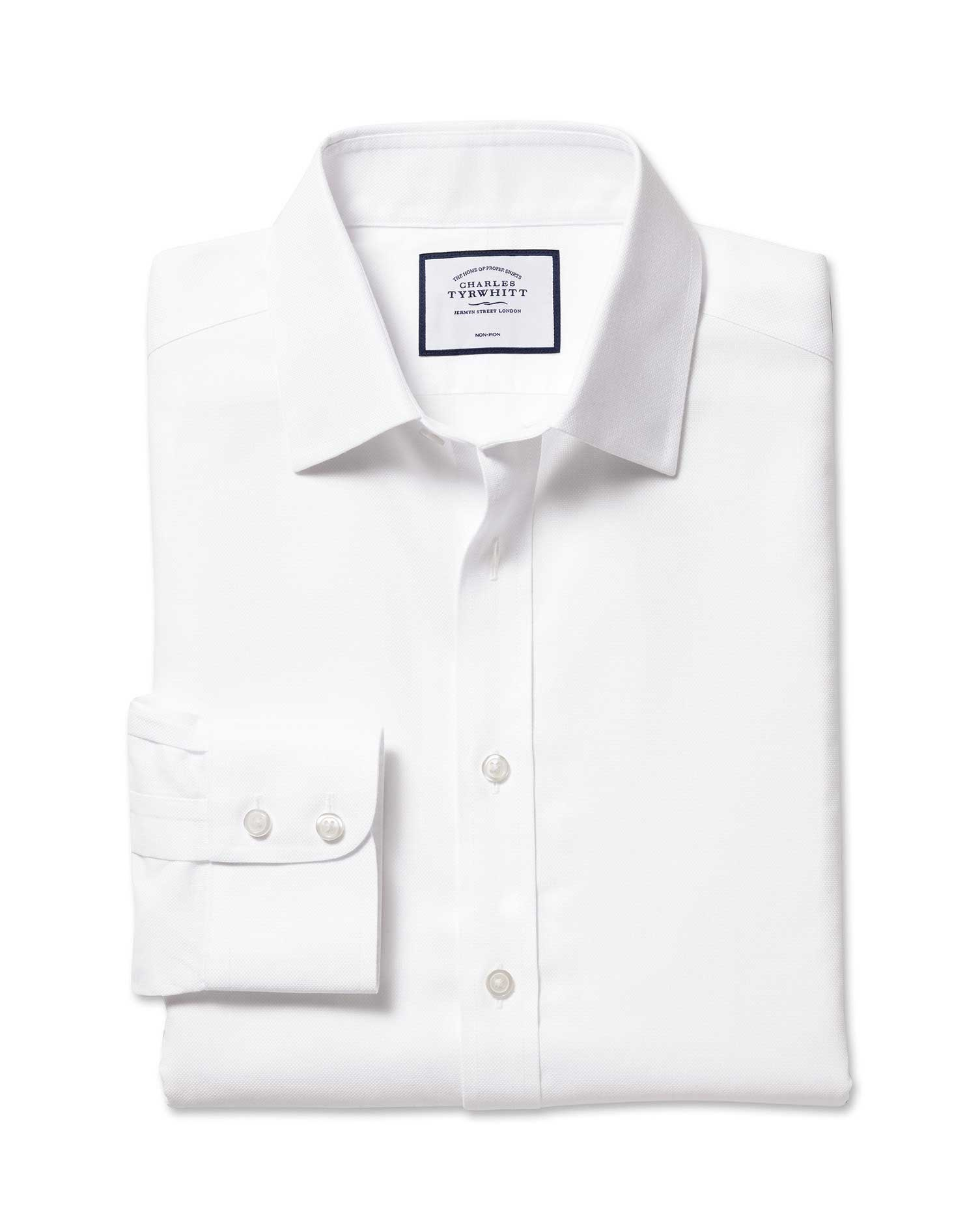 Extra Slim Fit Non-Iron Royal Panama White Cotton Formal Shirt Single Cuff Size 15.5/36 by Charles Tyrwhitt from Charles Tyrwhitt