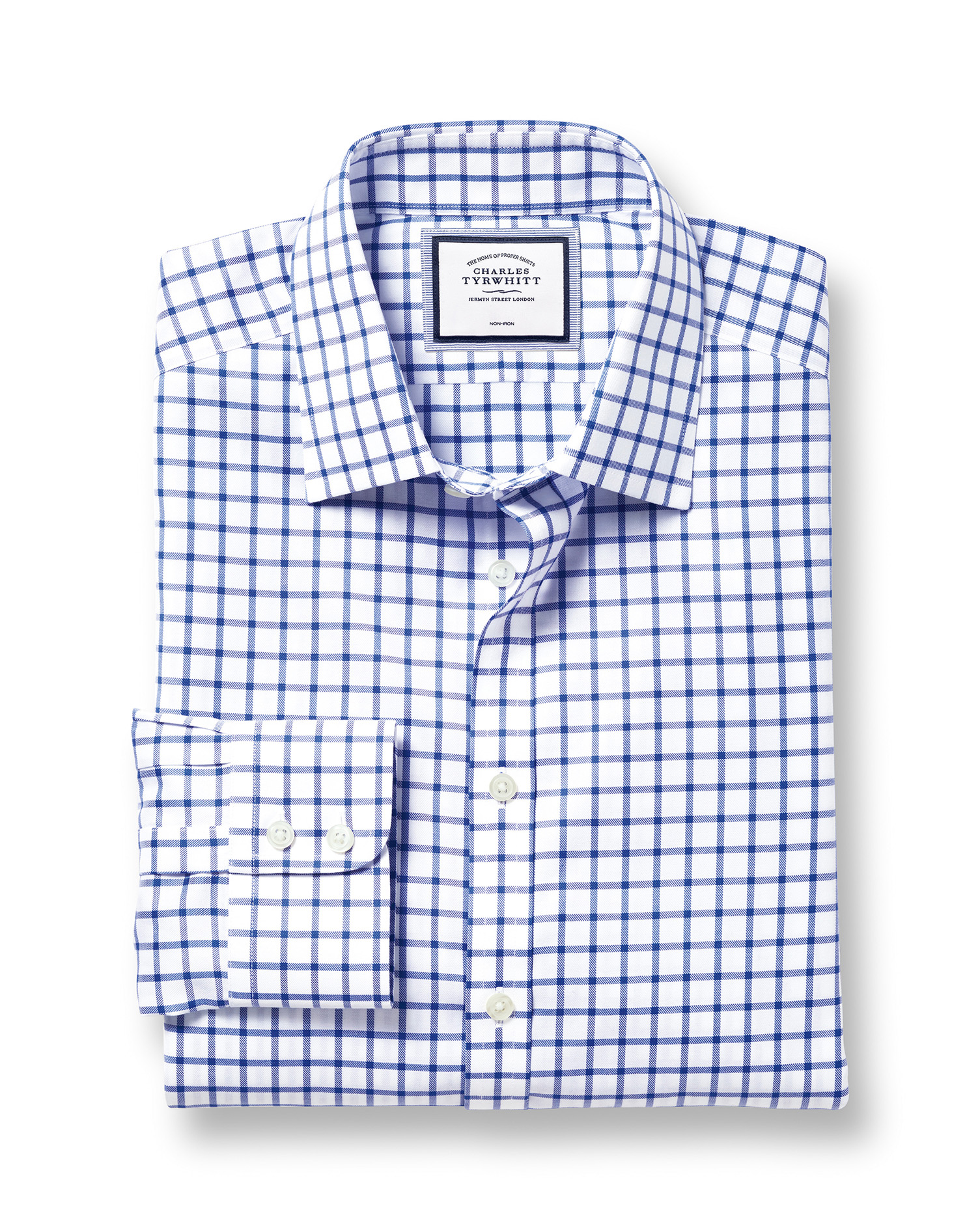 Extra Slim Fit Non-Iron Twill Grid Check Royal Blue Cotton Formal Shirt Double Cuff Size 16/33 by Charles Tyrwhitt from Charles Tyrwhitt