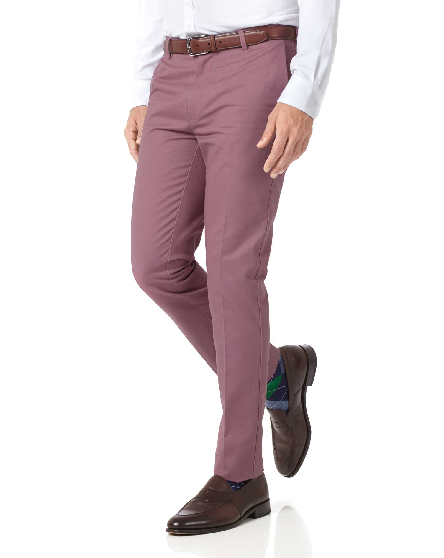 Light Pink Extra Slim Fit Flat Front Non-Iron Cotton Chino Trousers Size W32 L34 by Charles Tyrwhitt from Charles Tyrwhitt
