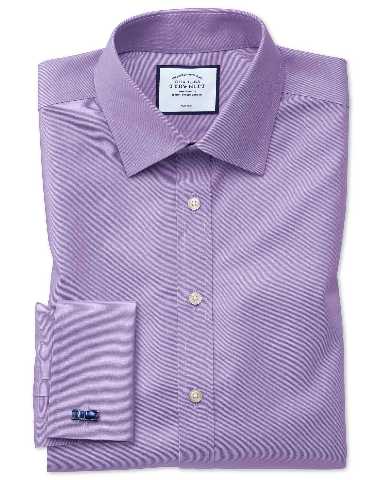 Lilac Non-Iron Twill Classic Fit Single Cuff Size 17.5/36 by Charles Tyrwhitt from Charles Tyrwhitt