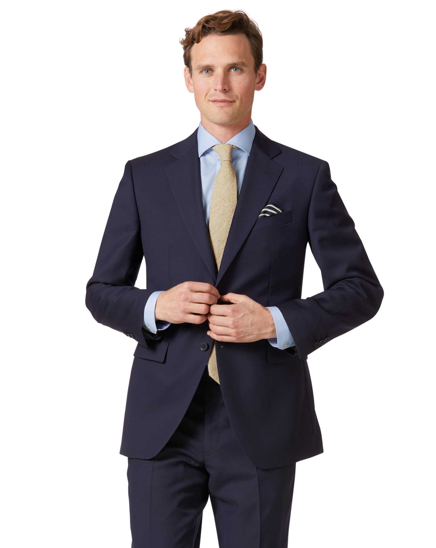 Navy Classic Fit Twill Business Suit Wool Jacket Size 48 Regular by Charles Tyrwhitt from Charles Tyrwhitt