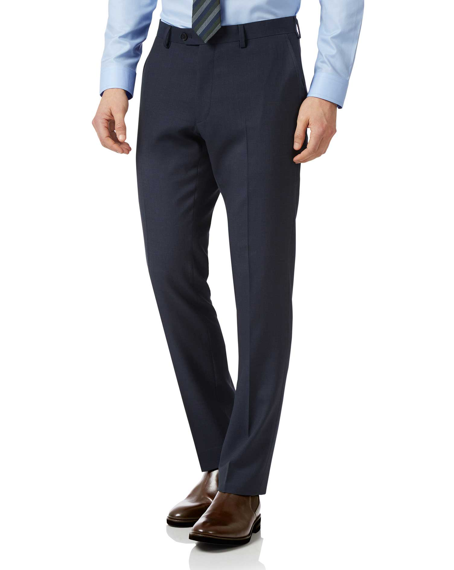 Navy Slim Fit Sharkskin Travel Suit Trousers Size W38 L34 by Charles Tyrwhitt from Charles Tyrwhitt