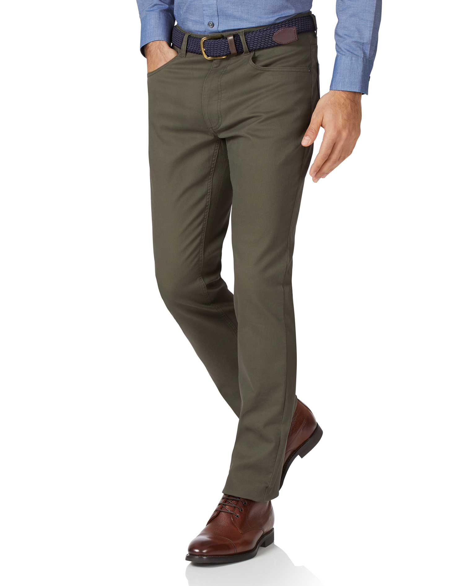 Olive Slim Fit 5 Pocket Bedford Corduroy Trousers Size W30 L30 by Charles Tyrwhitt from Charles Tyrwhitt