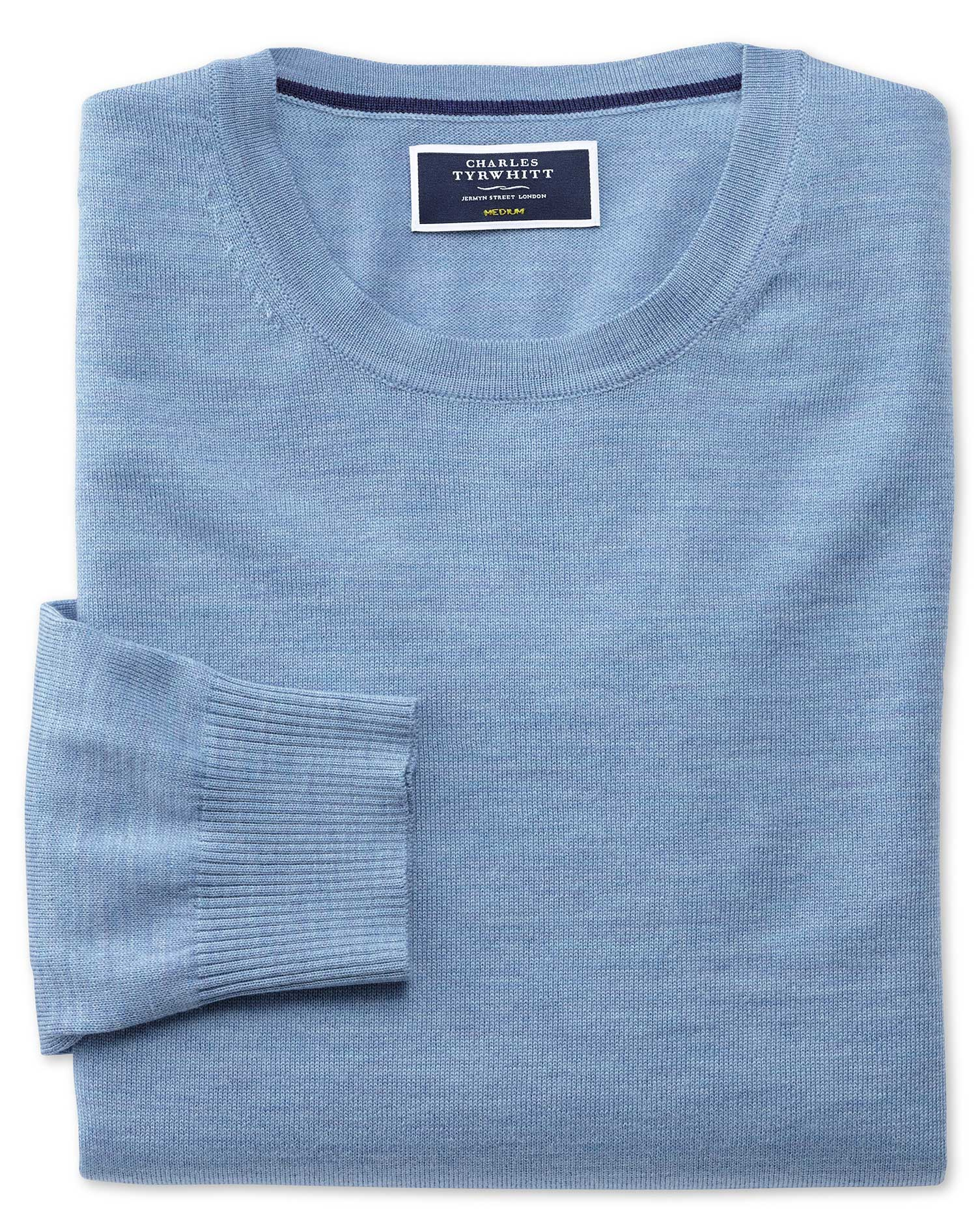 Sky Merino Wool Crew Neck Jumper Size Medium by Charles Tyrwhitt from Charles Tyrwhitt