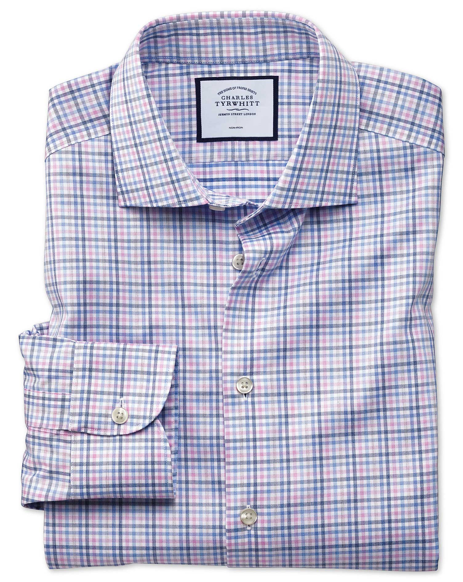 Slim Fit Business Casual Non-Iron Pink and Blue Check Cotton Formal Shirt Single Cuff Size 15.5/34 by Charles Tyrwhitt from Charles Tyrwhitt