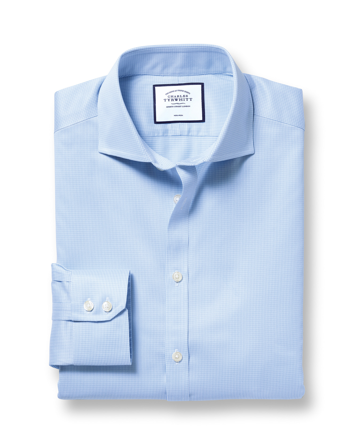 Slim Fit Cutaway Non-Iron Puppytooth Sky Blue Cotton Formal Shirt Double Cuff Size 15/35 by Charles Tyrwhitt from Charles Tyrwhitt
