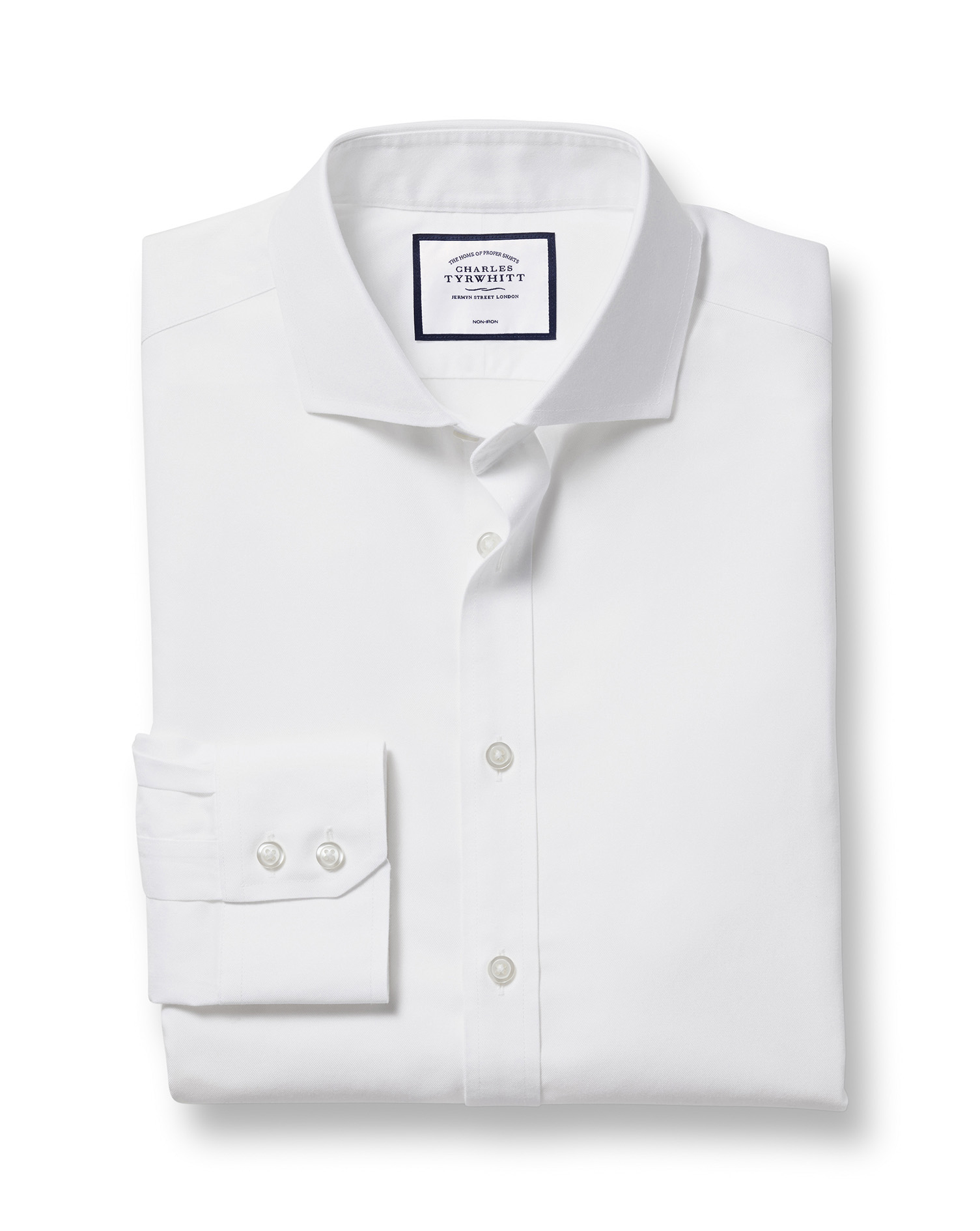 Slim Fit Extreme Cutaway Non-Iron Twill White Cotton Formal Shirt Single Cuff Size 15.5/34 by Charles Tyrwhitt from Charles Tyrwhitt