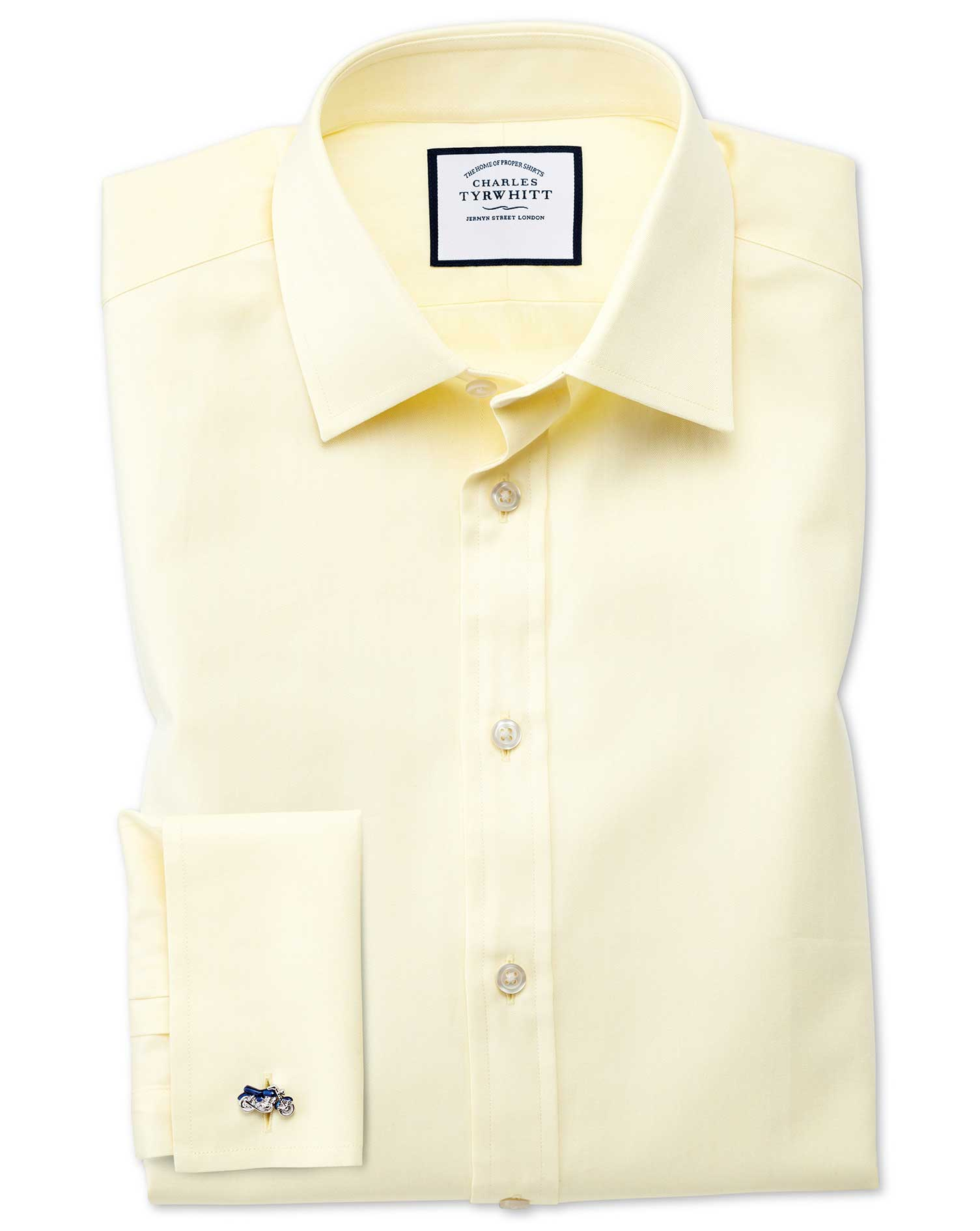 Slim Fit Fine Herringbone Yellow Cotton Formal Shirt Single Cuff Size 15.5/33 by Charles Tyrwhitt from Charles Tyrwhitt