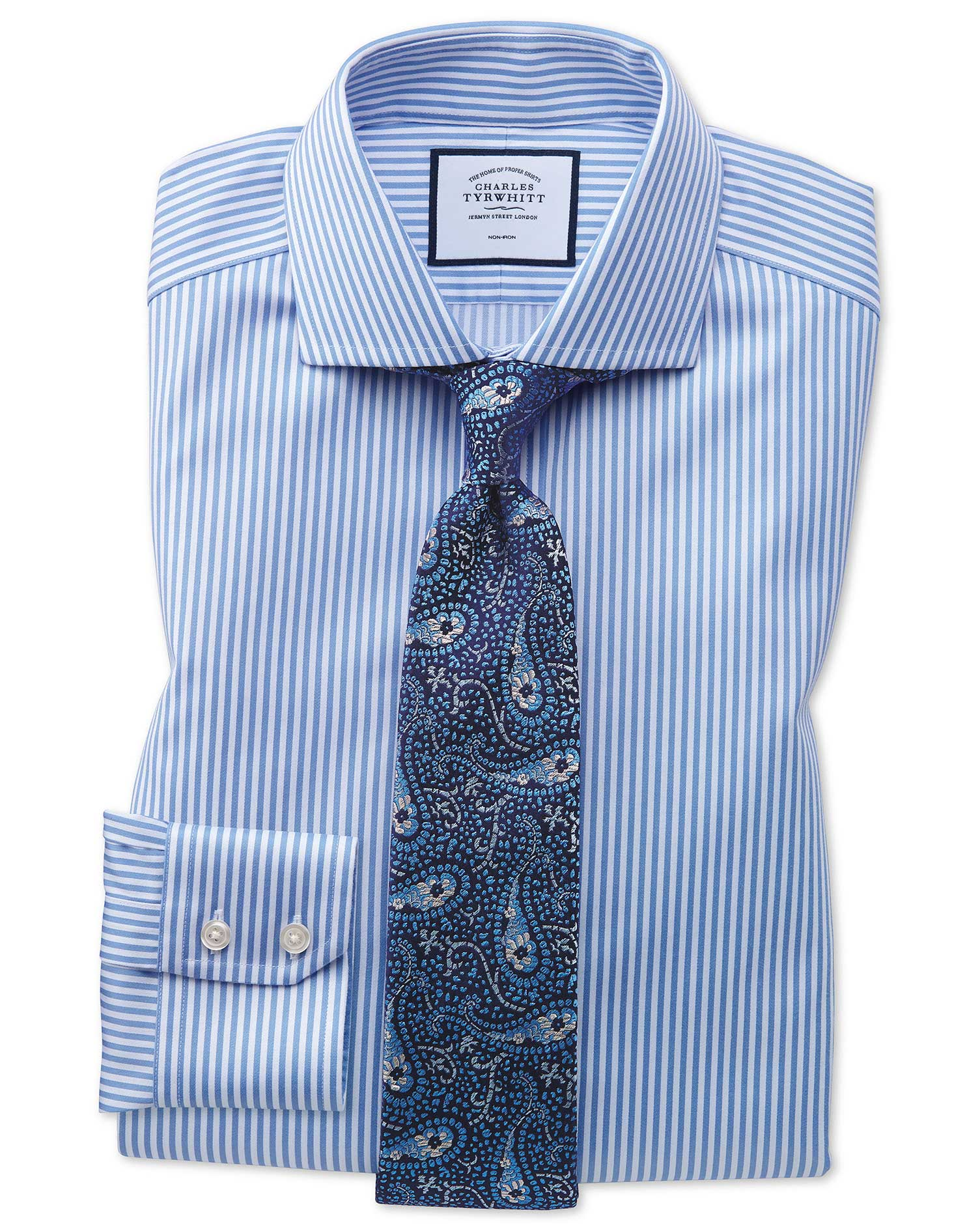 Slim Fit Non-Iron Cutaway Collar Sky Blue Twill Stripe Cotton Formal Shirt Single Cuff Size 17/34 by Charles Tyrwhitt from Charles Tyrwhitt
