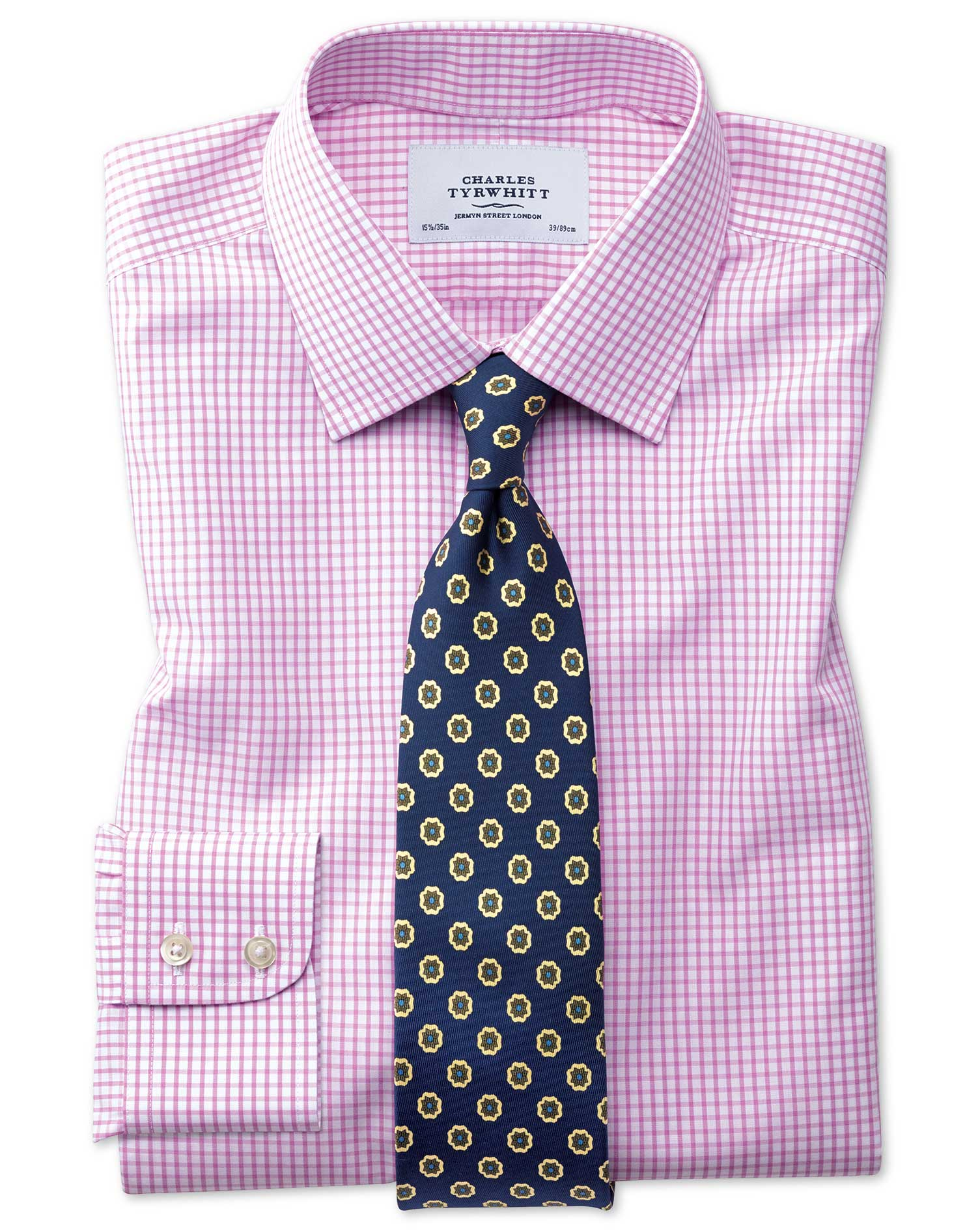 Slim Fit Non-Iron Grid Check Pink Cotton Formal Shirt Single Cuff Size 16/36 by Charles Tyrwhitt from Charles Tyrwhitt