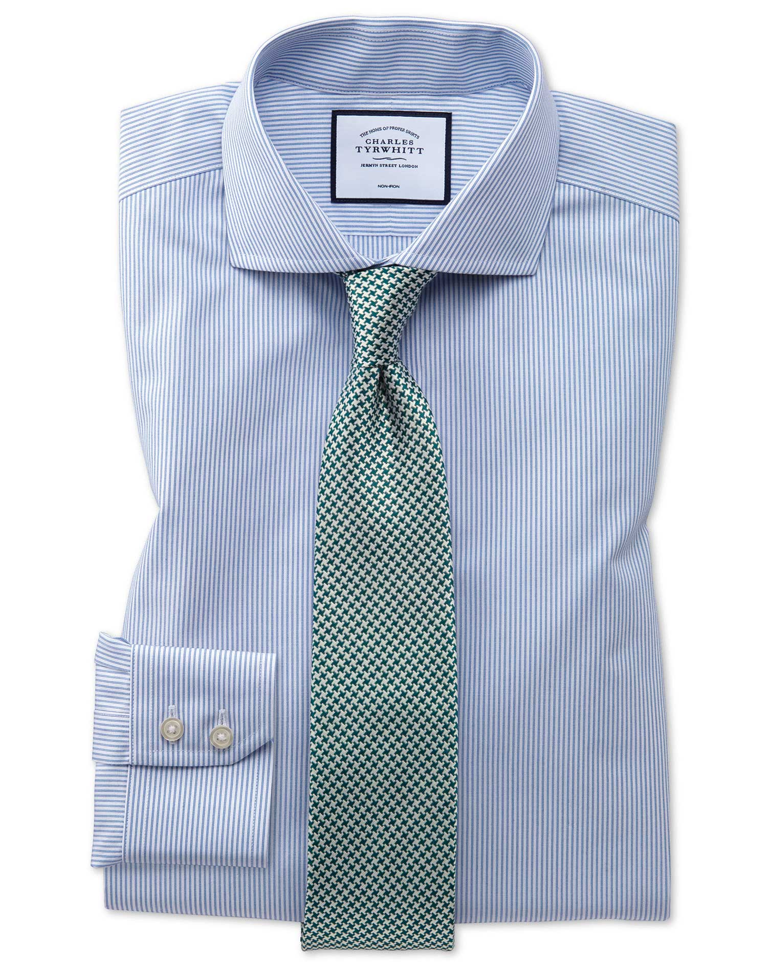 Slim Fit Non-Iron Natural Cool Blue Stripe Cotton Formal Shirt Single Cuff Size 16/34 by Charles Tyrwhitt from Charles Tyrwhitt