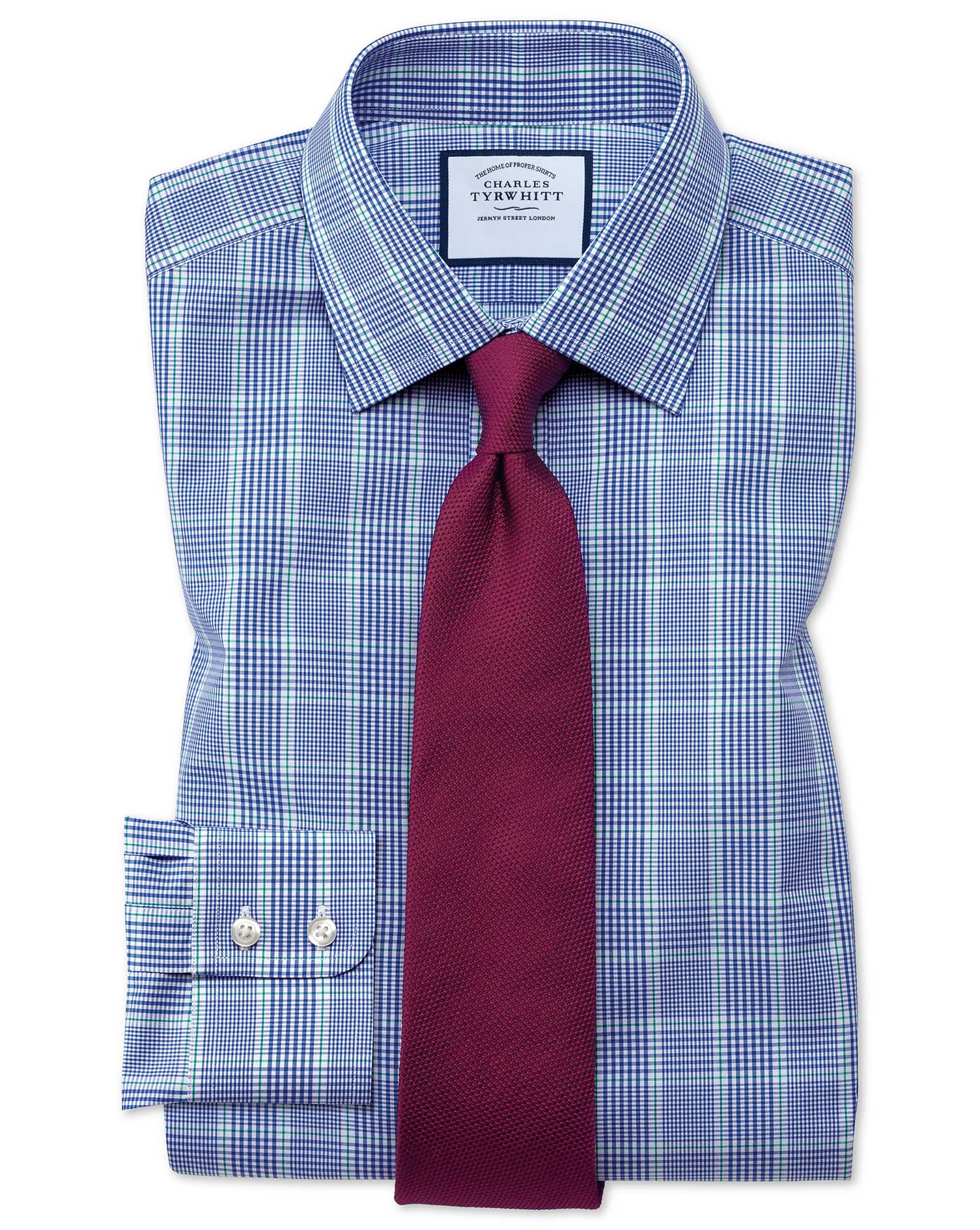 Slim Fit Prince Of Wales Check Blue and Green Cotton Formal Shirt Single Cuff Size 17.5/36 by Charles Tyrwhitt from Charles Tyrwhitt