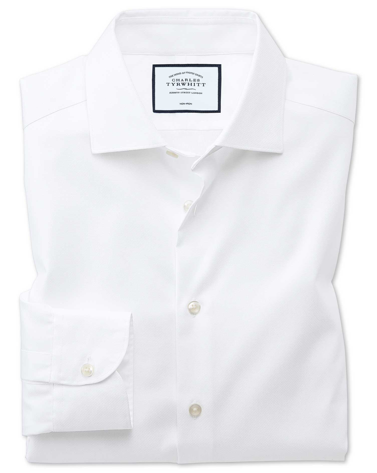 Slim Fit Semi-Cutaway Business Casual Non-Iron Modern Textures White Cotton Formal Shirt Single Cuff Size 16/35 by Charles Tyrwhitt from Charles Tyrwhitt