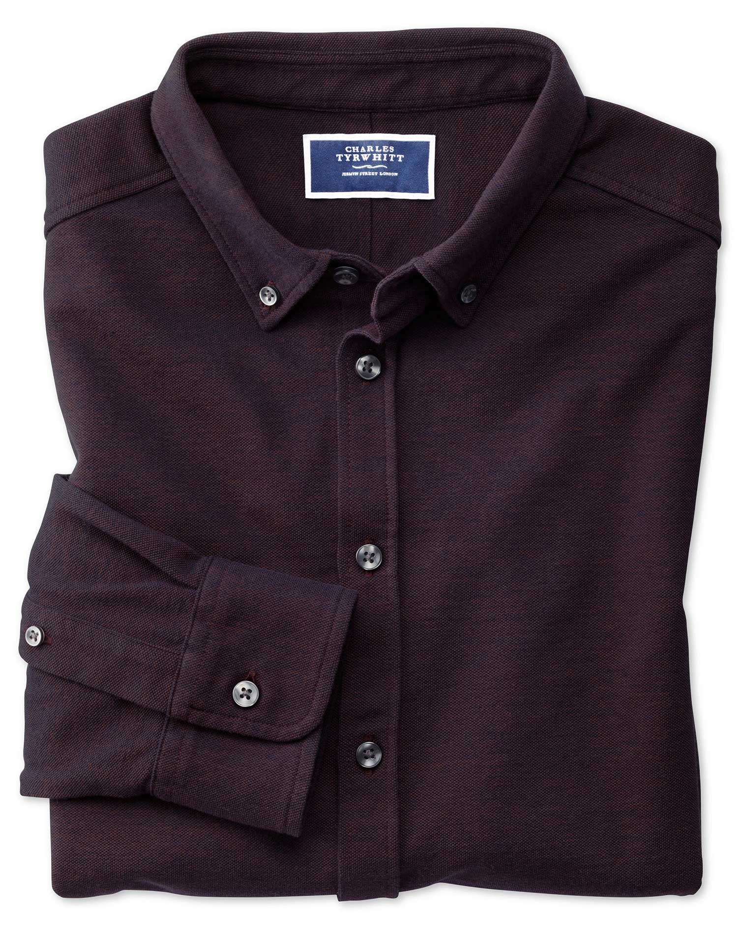 Wine Oxford Jersey Shirt Size XS by Charles Tyrwhitt from Charles Tyrwhitt