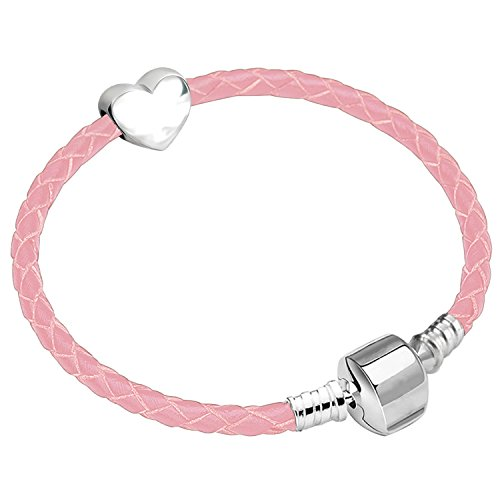 16cm Girls Leather Starter Charm Bracelet with Silver Heart and Gift Box Age 4-7 Years from Charm Buddy