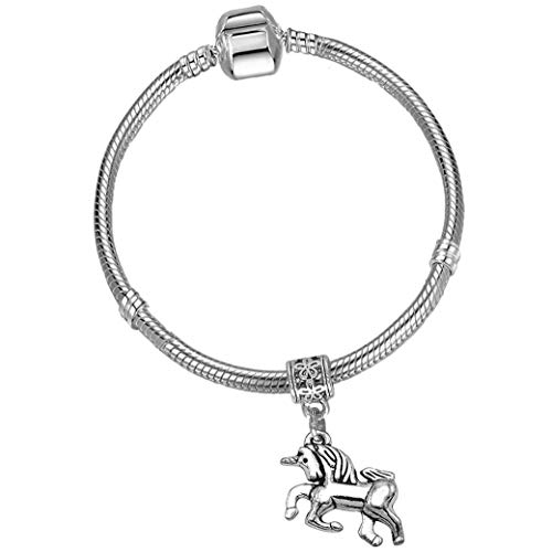 Girls 15cm Silver Starter Charm Bracelet with Silver Unicorn and Gift Box Age 3-5 Years from Charm Buddy