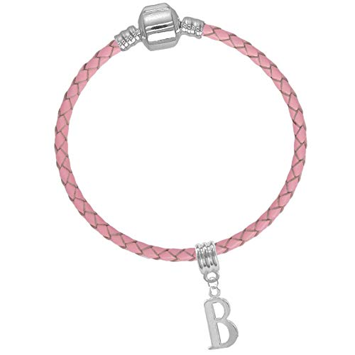 Girls 17cm Pink Leather Starter Charm Bracelet with Initial Letter 'B' from Charm Buddy