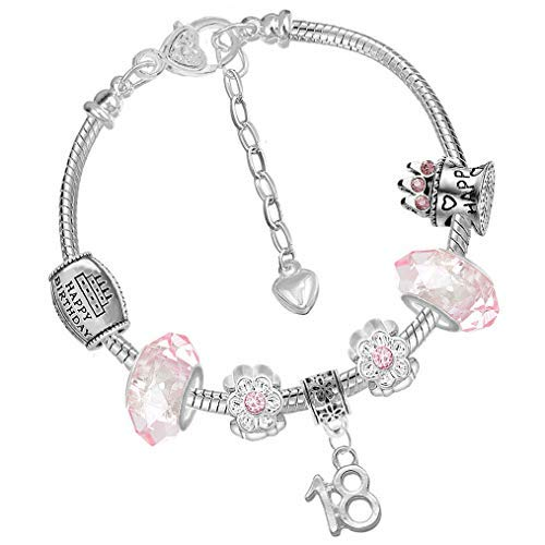 860bb04bb Girls 18th Birthday Sparkly Pink Crystal Charm Bracelet with Silver Gift  Box from Charm Buddy