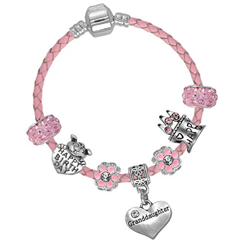 Granddaughter Girls 15cm Pink Leather Birthday Charm Bracelet with Gift Box from Charm Buddy
