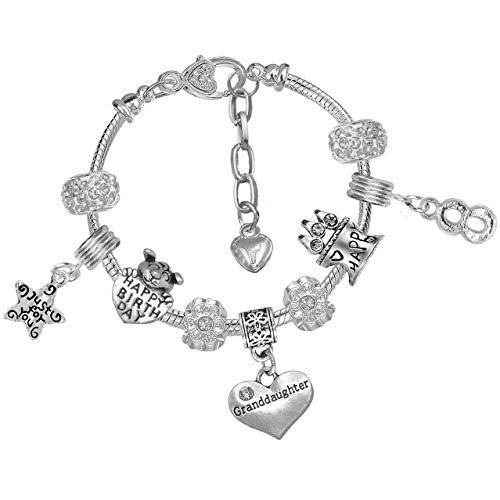 Granddaughter Girls 8th Birthday Crystal Charm Bracelet with Gift Box from Charm Buddy