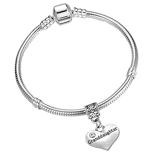 Granddaughter Silver Starter Charm Bracelet with Pendant and Gift Box (19cm (Ladies Small)) from Charm Buddy