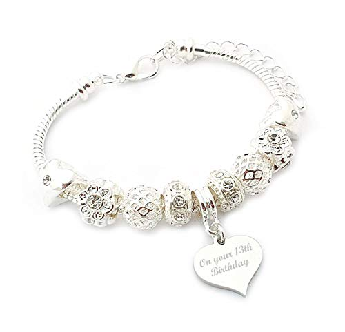 SanaBelle™ 13th Birthday Personalised Engraved Charm Bracelet - 17cm - Gift Boxed from Charmed Jewellery