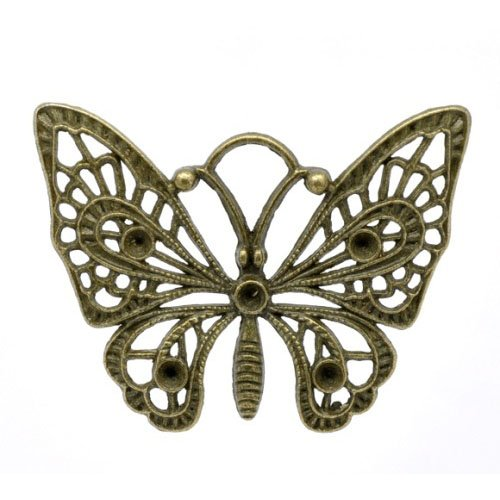 3 x Steampunk Antique Bronze Tibetan 48mm Charms Pendants (Butterfly) - (ZX05710) - Charming Beads from Charming Beads
