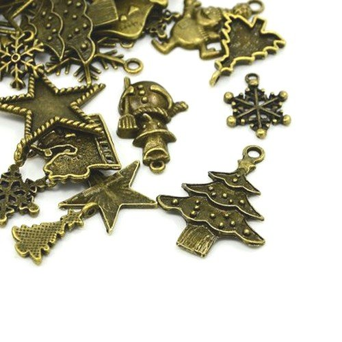 30 Grams Antique Bronze Tibetan Random Shapes & Sizes charms (Christmas) - (HA12490) - Charming Beads from Charming Beads