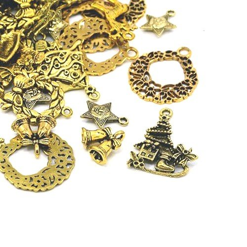 30 Grams Antique Gold Tibetan Random Shapes & Sizes charms (Christmas) - (HA12410) - Charming Beads from Charming Beads