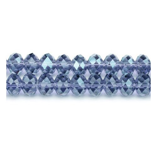 90+ Pale Blue Czech Crystal Glass 4 x 6mm Faceted Rondelle Beads GC8848-2 (Charming Beads) from Charming Beads