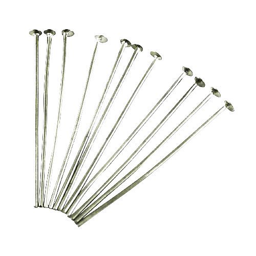 Pack 275+ Platinum Nickel-Free STRONG Plated Iron 0.7 x 40mm Head Pins - (HA02172) - Charming Beads from Charming Beads