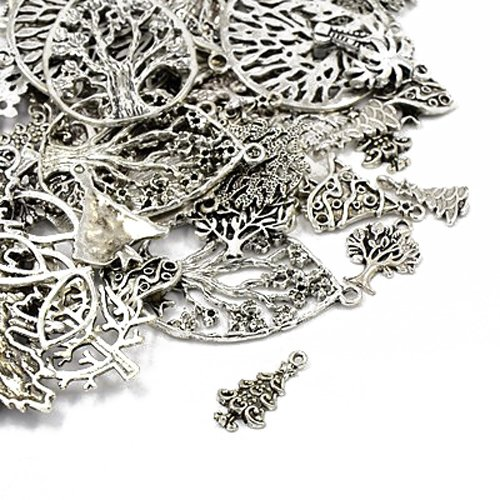 Pack 30 Grams Antique Silver Tibetan Random Shapes & Sizes Charms (TREE) - (HA07070) - Charming Beads from Charming Beads