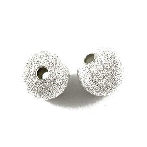 Pack Of 100+ Silver Plated Brass 6mm Stardust Twinkle Round Beads - (HA01919) - Charming Beads from Charming Beads