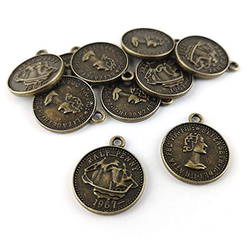 Packet 10 x Steampunk Antique Bronze Tibetan 22mm Charms Pendants (Coin) - (ZX08985) - Charming Beads from Charming Beads