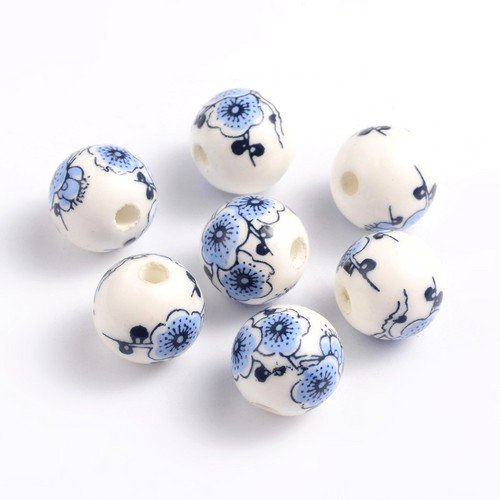 Packet 10 x White/Blue Porcelain 12mm Plain Round Beads HA27305 (Charming Beads) from Charming Beads