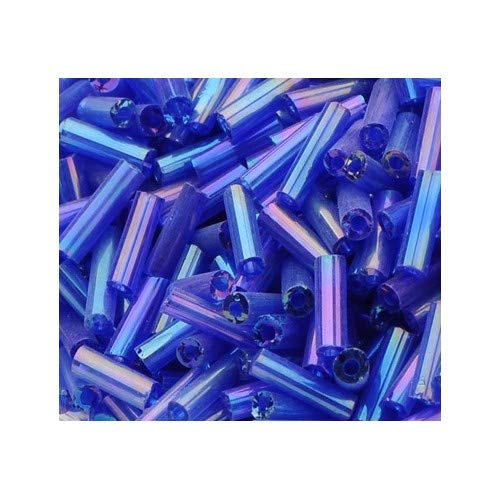 Packet 2200+ Blue/Purple Glass Circa 5-20mm x 2mm AB Bugle Seed Beads Y12505 (Charming Beads) from Charming Beads