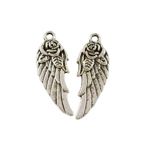 Packet Of 30 x Antique Tibetan Silver 11 x 30mm Charms (Angel Wings) - (HA06465) - Charming Beads from Charming Beads