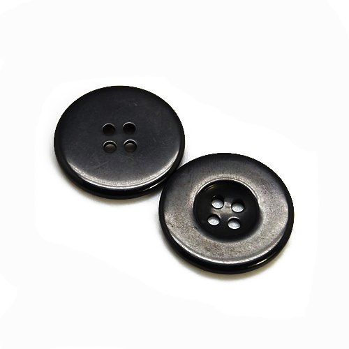 Packet of 20 x Black Resin 20mm Round Buttons (4 Hole) - (HA10395) - Charming Beads from Charming Beads