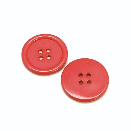 Packet of 20 x Red Resin 20mm Round Buttons (4 Hole) - (HA10720) - Charming Beads from Charming Beads