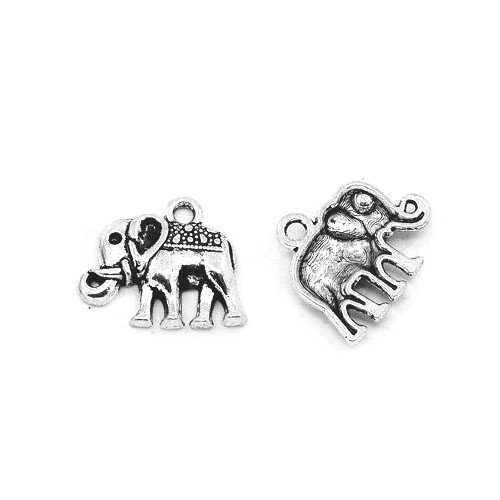 Packet of 30 x Antique Silver Tibetan 17mm Charms Pendants (Elephant) - (ZX01910) - Charming Beads from Charming Beads