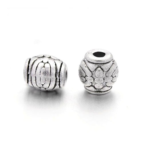Packet of 30 x Antique Silver Tibetan 6mm Barrel Spacer Beads - (HA17100) - Charming Beads from Charming Beads