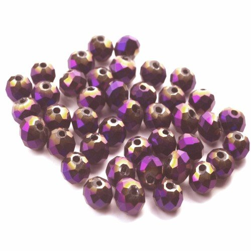 Strand 100+ Purple/Metallic Czech Crystal Glass 4mm Faceted Round Beads GC3563-1 (Charming Beads) from Charming Beads