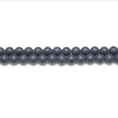 Strand Of 62+ Black Onyx 6mm Frosted Round Beads - (GS5624-2) - Charming Beads from Charming Beads