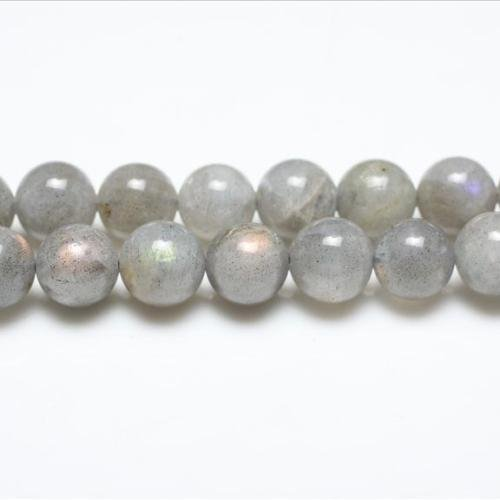 Strand Of 62+ Grey Labradorite 6mm Plain Round Beads - (GS0663-1) - Charming Beads, Small from Charming Beads