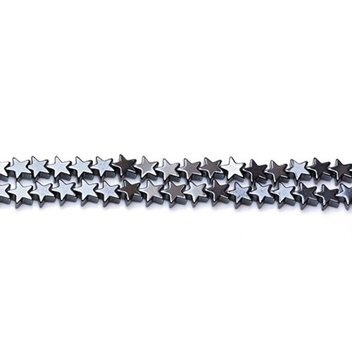 Strand Of 65+ Grey Hematite (Non Magnetic) 6mm Flat Star Beads - (GS12570-1) - Charming Beads from Charming Beads