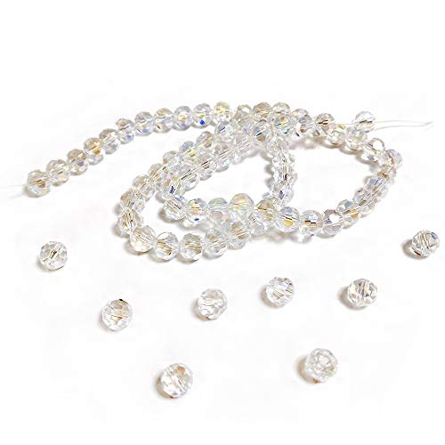 Strand 70+ Clear Czech Crystal Glass 8mm AB Faceted Round Beads GC3544-3 (Charming Beads) from Charming Beads
